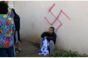 image via screenshot from Twitter of graffiti at Jewish frat house at UC-Davis