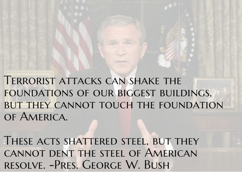 bushs 9 11 speech Text of bush's address (cnn) -- the text of president bush's address tuesday night, after terrorist attacks on new york and washington: good evening.
