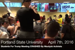 protest at students for trump meeting