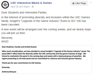 usc video game panel fb