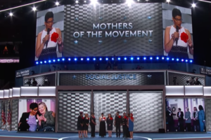 image screenshot from DNC's livestream of 2016 DNC convention of 'Mothers of the Movement'