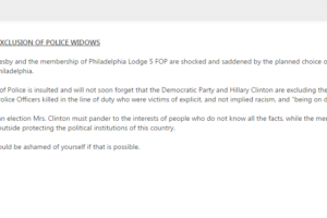 Fraternal Order of Police statement on DNC convention speakers that excluded police officers' widows from FOP's website