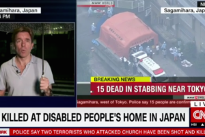 image screenshot via CNN video report on knife attack in Japan