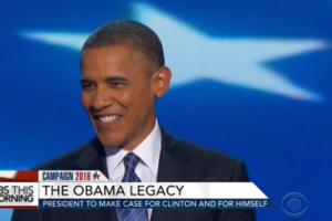 image screenshot of Obama's speech at the DNC convention 2016 from CBS News video on Obama's legacy