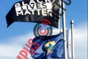 photo from Campus Reform of University of Vermont flying Black Lives Matter flag