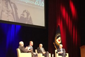 photo by Spencer Irvine at the 3rd annual CIA-GWU conference. CIA's John Brennan (far left), UK's Alex Younger (left middle), Afghanistan's Mohammad Stanekzai (right middle) and Australia's Nick Warner (far right)