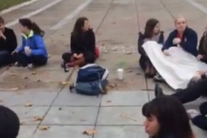 image screenshot from Cornell Daily Sun video of 'cry-in' protest